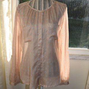 Soft Pink floral blouse Ann Taylor Loft style!